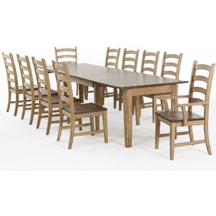 Huerfano Valley 11 Piece Extendable Solid Wood Dining Set Loon Peak