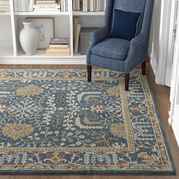 Three Posts Ashville Handmade Tufted Wool Dark Blue Area Rug Reviews Wayfair