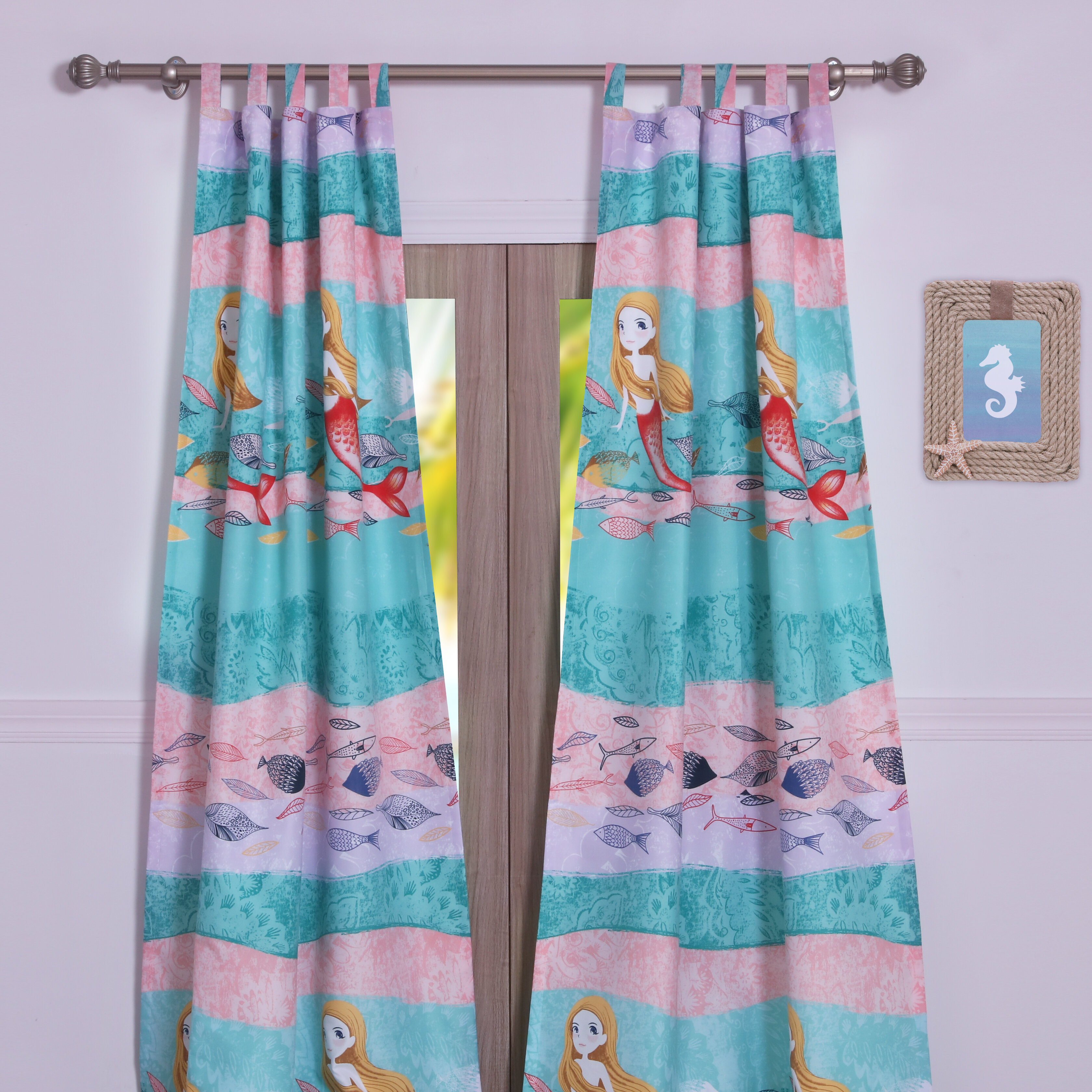 Zoomie Kids Hobgood Wildlife Semi Sheer Tab Top Curtain Panels Wayfair