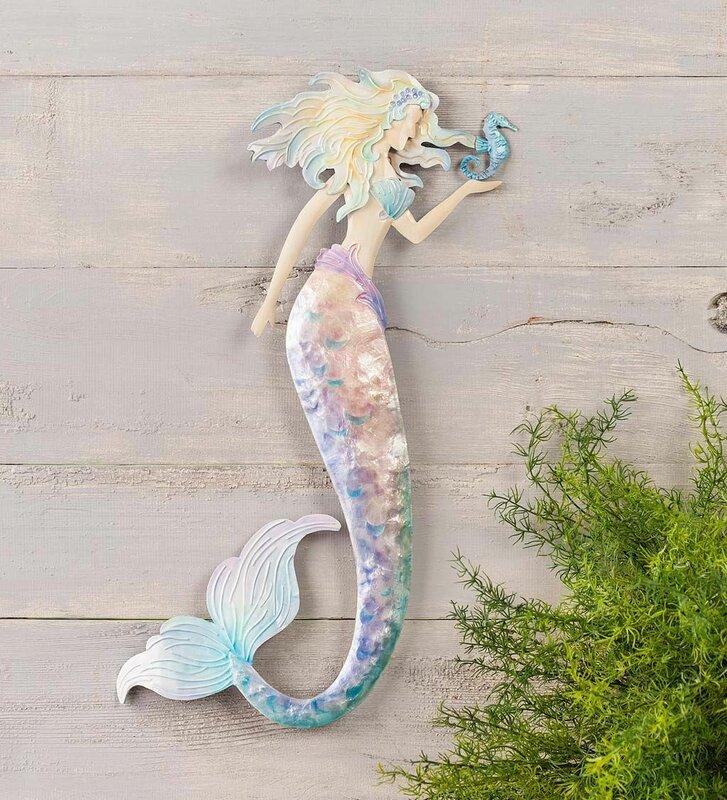 Pastel Metal Mermaid Wall Décor
