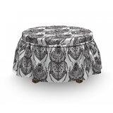 Egyptian Mythological Scarabs 2 Piece Box Cushion Ottoman Slipcover Set by East Urban Home