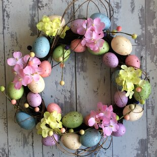 Easter Egg And Flowers Easter 40cm Acrylic Wreath By The Seasonal Aisle