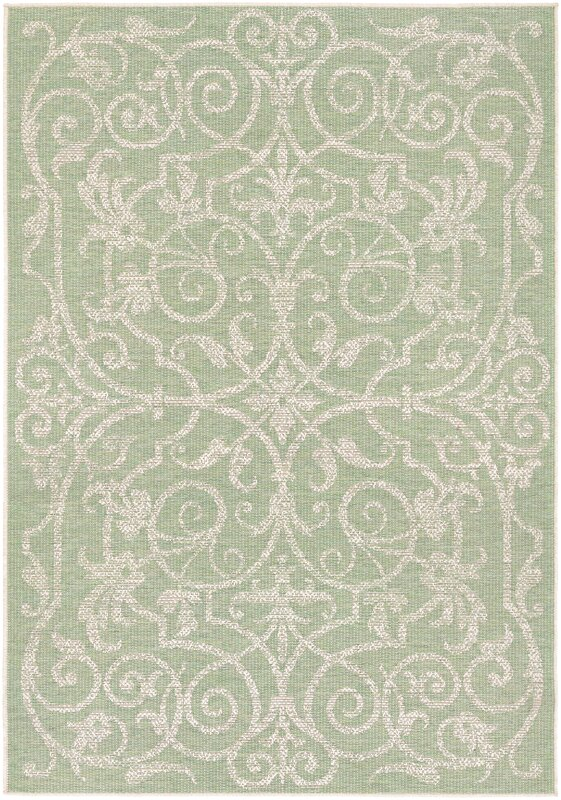 Arnegard Ivory Light Green Indoor Outdoor Area Rug