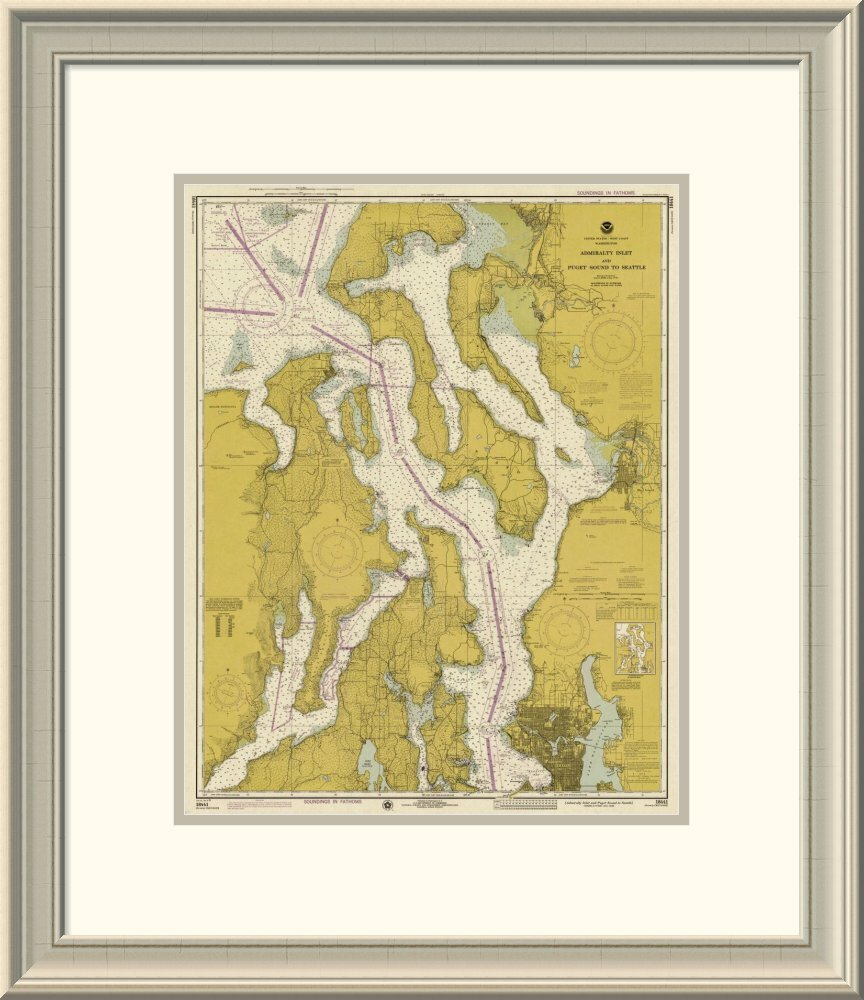 East Urban Home Nautical Chart Admiralty Inlet And Puget Sound To Seattle Ca 1975 Sepia Tinted Framed Print Wayfair