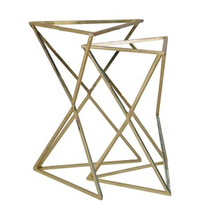 Gelmen Metal Triangle Mirror Top 2 Piece Nesting Tables by Mercer41
