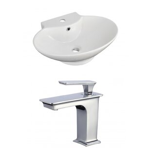 Compare Ceramic 23 Wall-Mount Bathroom Sink with Faucet and Overflow By Royal Purple Bath Kitchen
