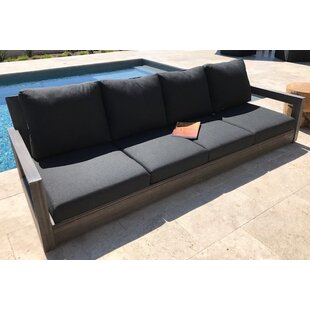 Yandell Teak Outdoor Sofa with Cushions