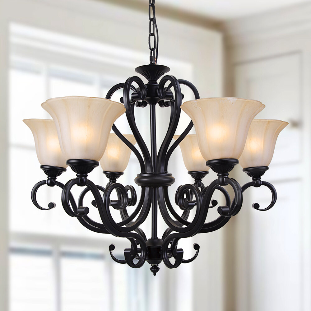 Lnchome 6 Light Shaded Classic Traditional Chandelier Reviews Wayfair