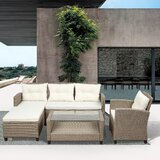 4 Piece Rattan Sectional Seating Group with Cushions (Set of 4) by Dovecove