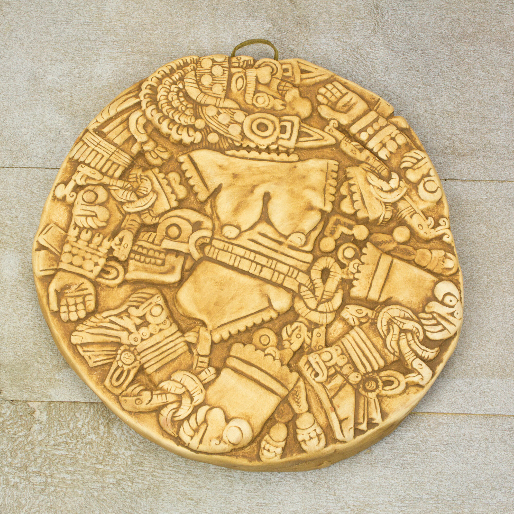 Aztec Moon Goddess Collectible Hand Crafted Archaeological Museum Replica Ceramic Plaque Wall Decor