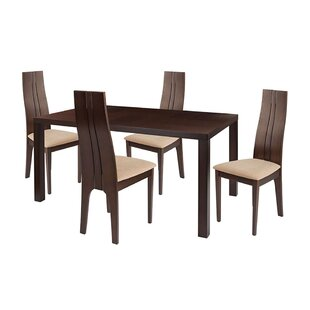 Beauregard 5 Piece Solid Wood Dining Set by Ebern Designs