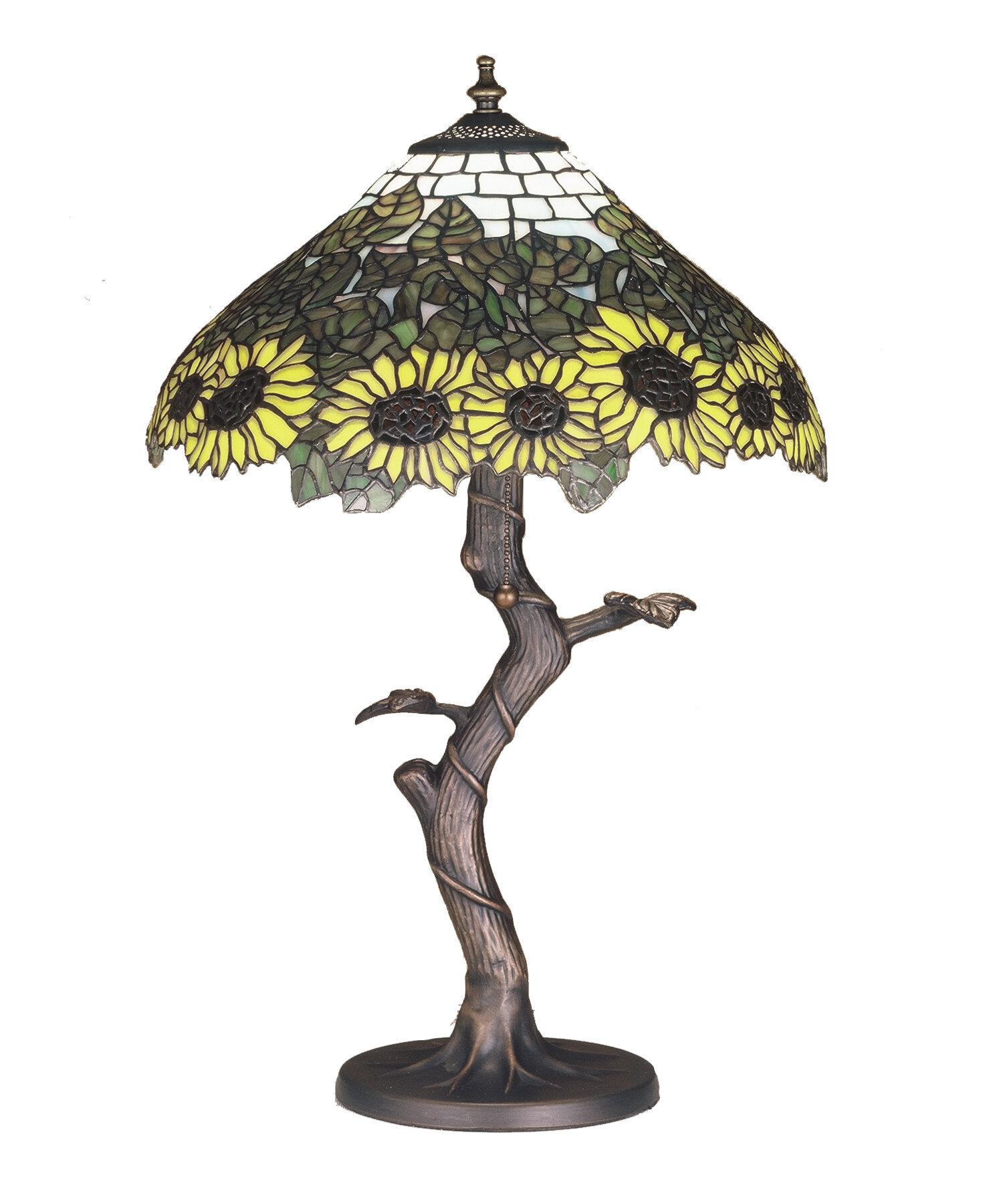 August Grove Wansley Tiffany Sunflower 23 5 Table Lamp Wayfair