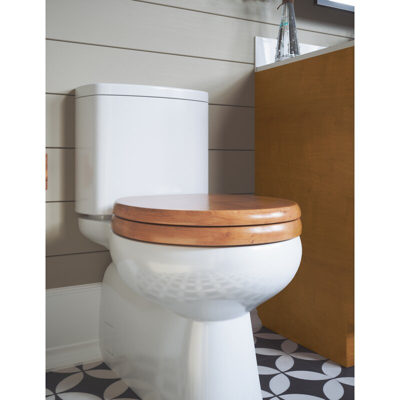 Round Closed Front Toilet Seat Honey Solid Oak Wood Bathroom Bowl Cover Comfort