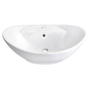 Royal Purple Bath Kitchen Ceramic Oval Vessel Bathroom Sink with Overflow