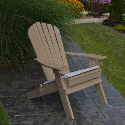 Aryana Plastic Folding Adirondack Chair Beachcrest Home Color: Weathered Wood