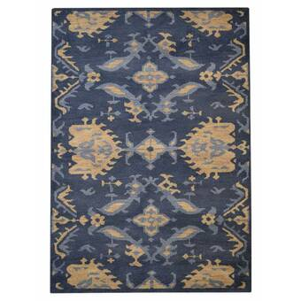 August Grove Hargrave Floral Hand Knotted Wool Blue Area Rug Wayfair