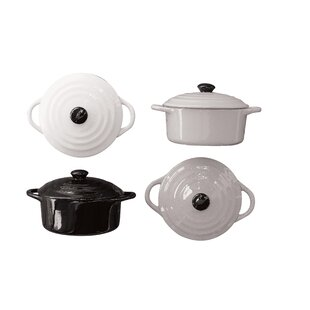 4 Piece Stoneware Mini Baker with Lid Set