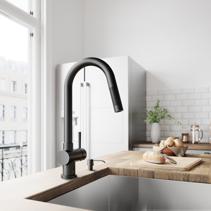 Vigo Gramercy Pull Down Single Handle Kitchen Faucet With Soap