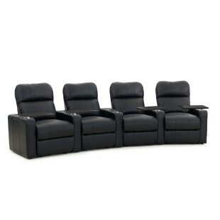 Latitude Run Diamond Stitch Home Theater Row Curved Seating (Row of 4)