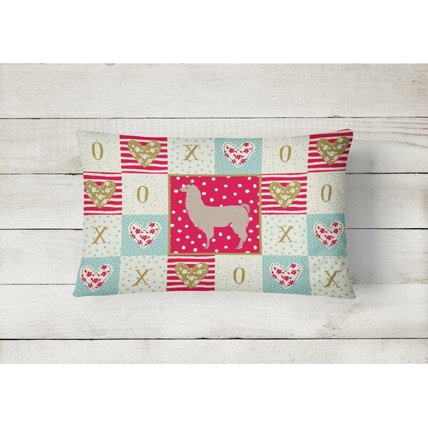 The Holiday Aisle Lilath Llama Love Indoor Outdoor Patchwork Lumbar Pillow Wayfair
