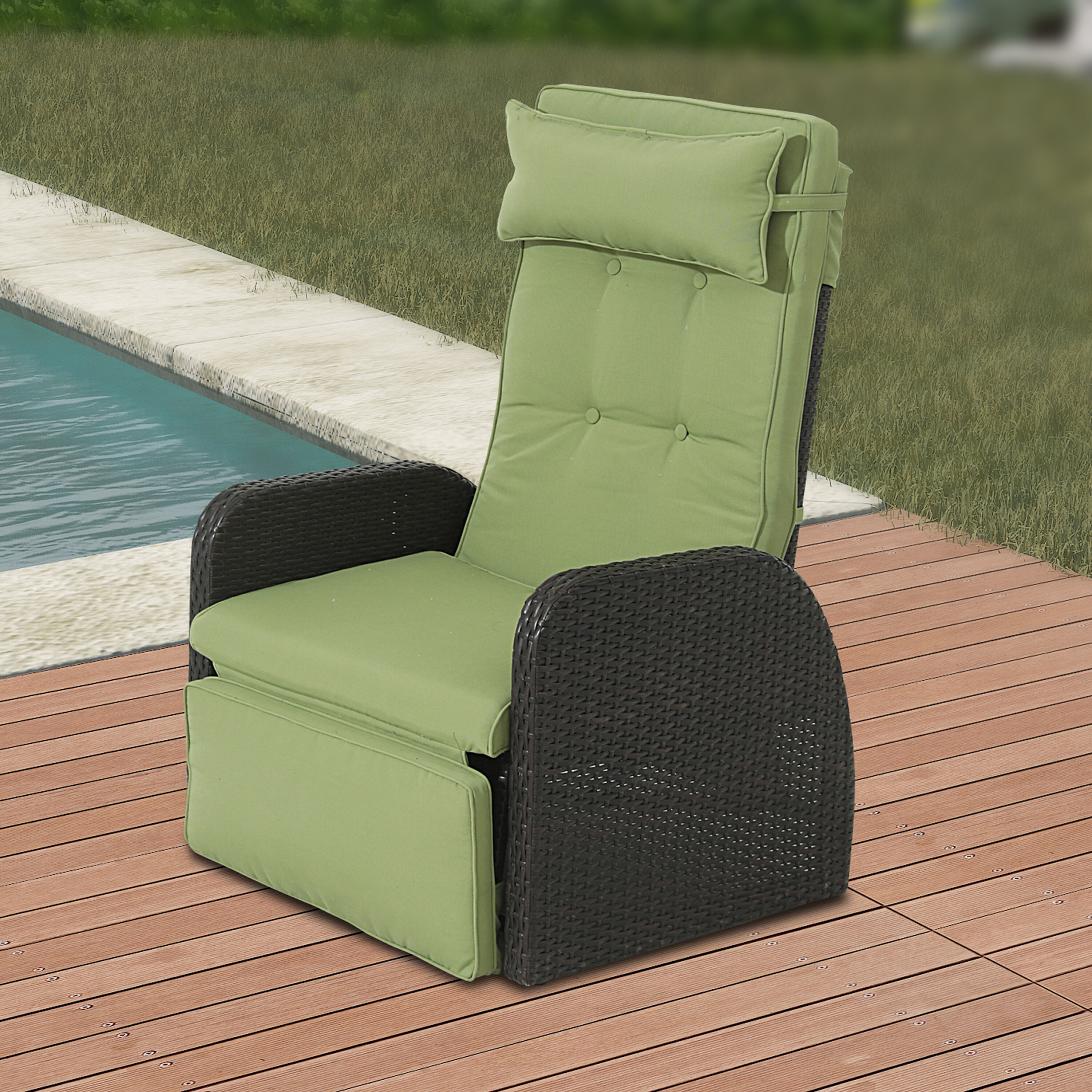 Picture of: Latitude Run Outdoor Recliner Patio Chair With Cushions Reviews Wayfair