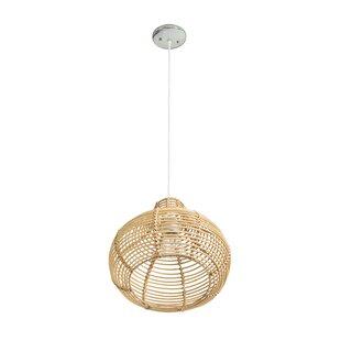 Niamh Continuous Weave Wicker Dome 1 Light Teardrop Pendant