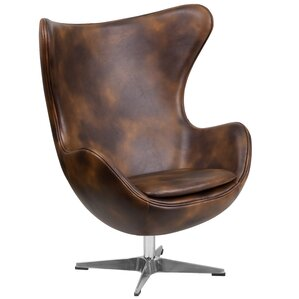 Ruochen Leather Egg Lounge Chair by 17 Stories