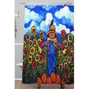 Scarecrow and Pumpkins Single Shower Curtain