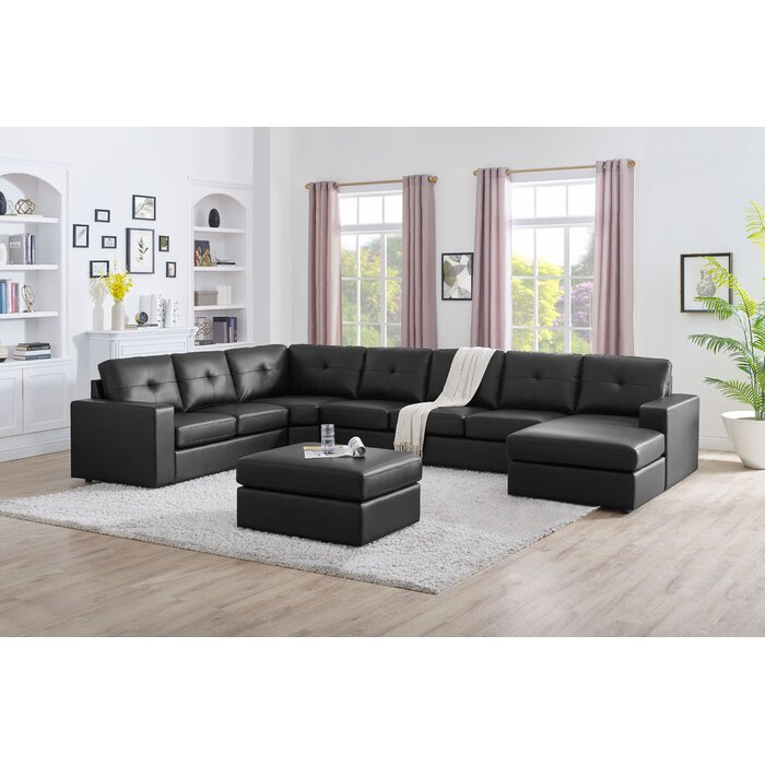Auton 6 Seater Large U Shape Sectional Sofa With Ottoman Black