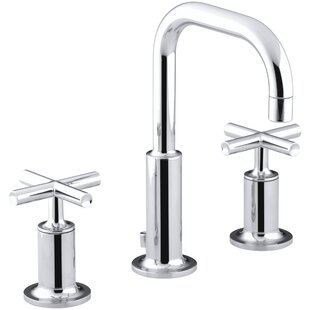 Kohler Purist Widespread Bathroom Sink Faucet with Low Cross Handles and Low Gooseneck Spout
