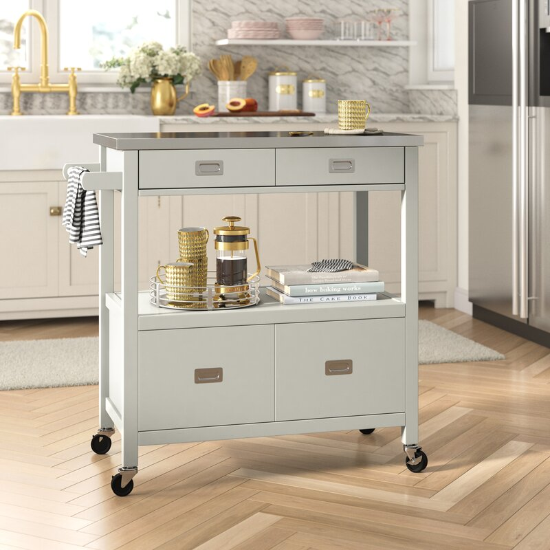 Eira Kitchen Island with Stainless Steel Top