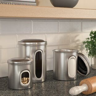 3-Piece Stainless Steel Canister Set by Rebrilliant Find