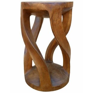 Four Leg Round Top Twist Accent Stool by Asian Art Imports