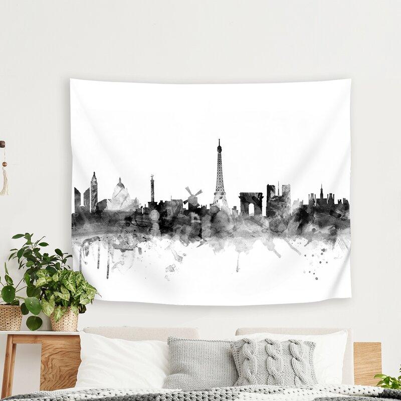 East Urban Home Michael Tompsett Art Pause Paris France Skyline New 1 Tapestry Wayfair