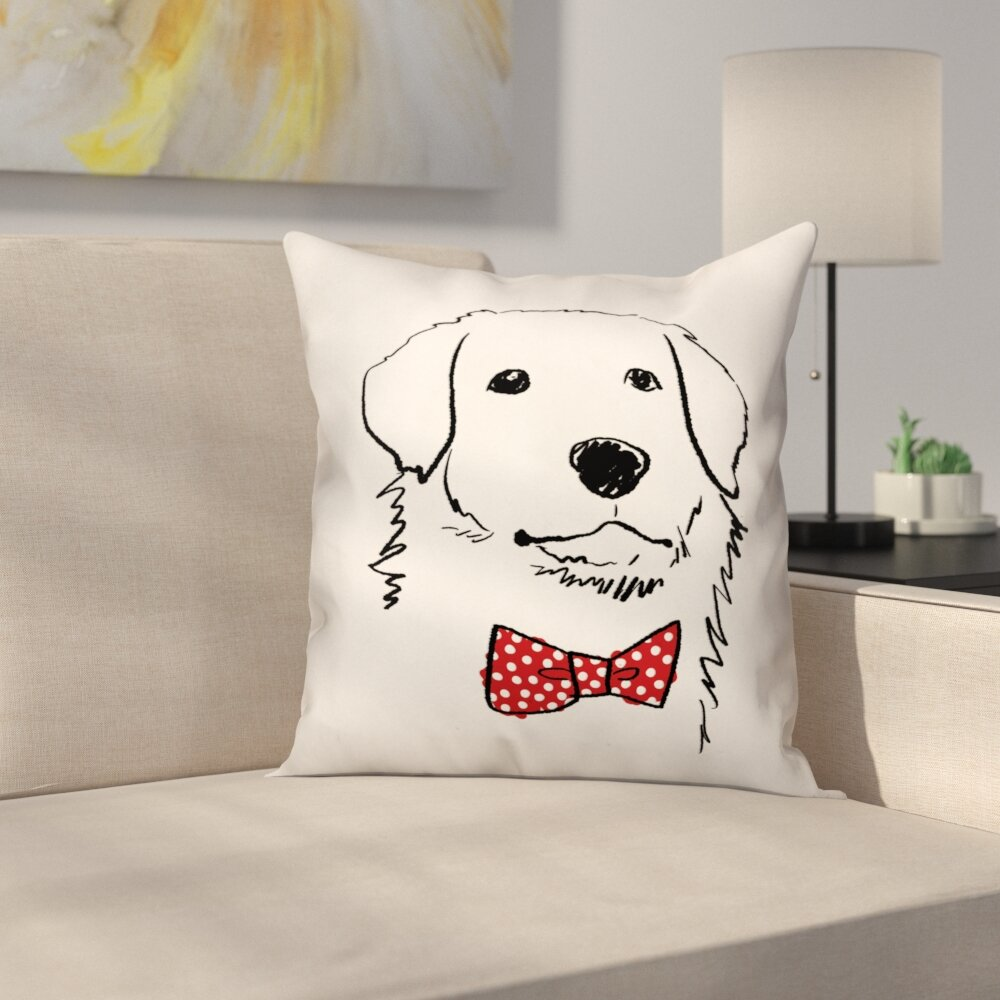 Archie U0026 Oscar Penny Dog With Polka Dot Bow Tie Throw Pillow | Wayfair