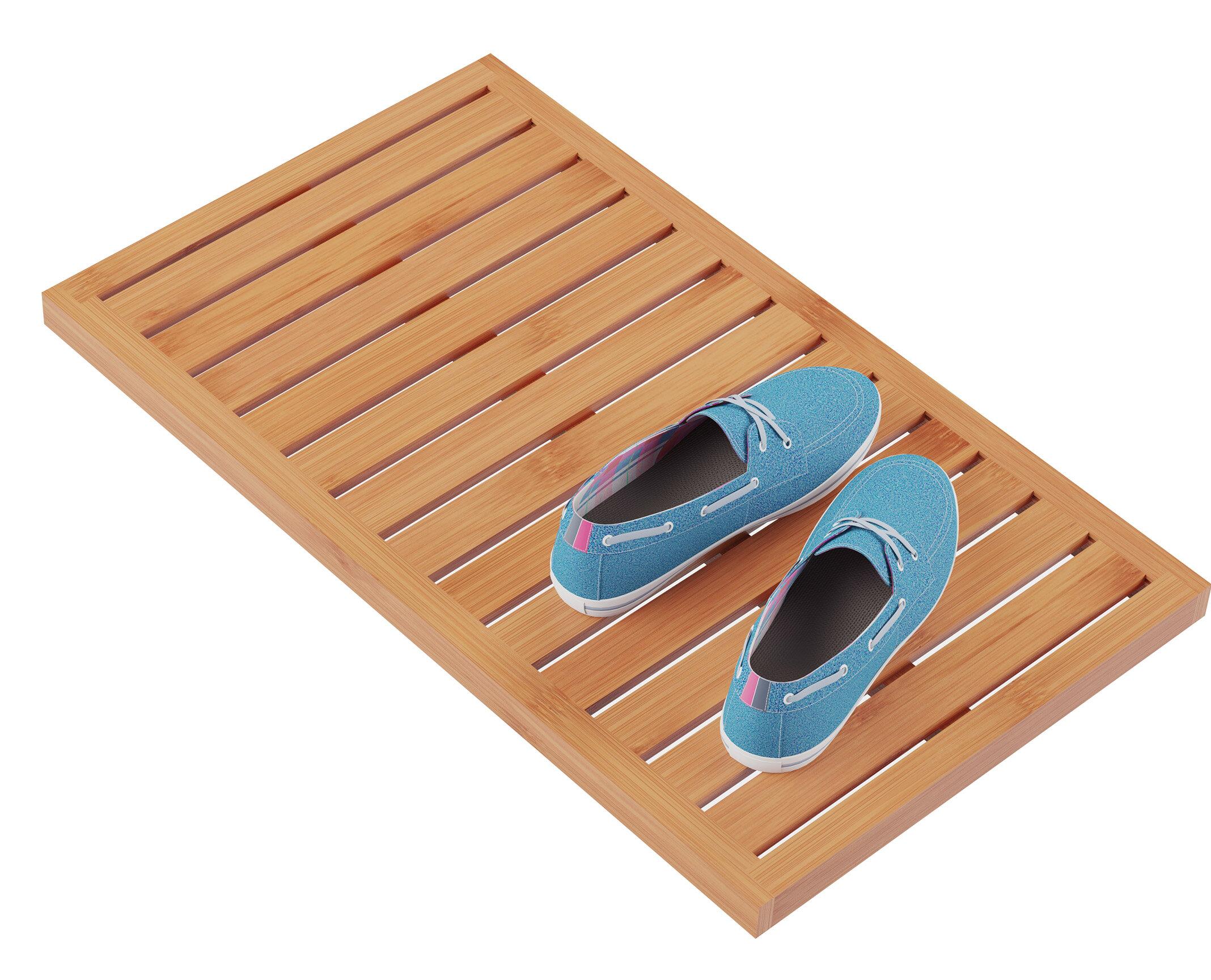Zaina Slatted Rectangle Bamboo Non Slip Striped Bath Rug Reviews Allmodern