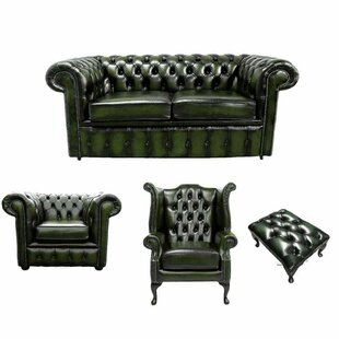 Theron Chesterfield 4 Piece Leather Sofa Set By Williston Forge
