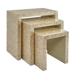 Affordable Price Yeates Basket Weave 3 Piece Nesting Table by Rosecliff Heights