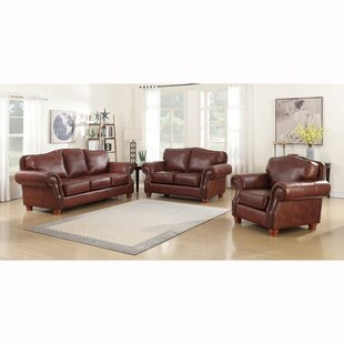 Price comparison Vranduk 3 Piece Leather Living Room Set by Canora Grey Reviews (2019) & Buyer's Guide