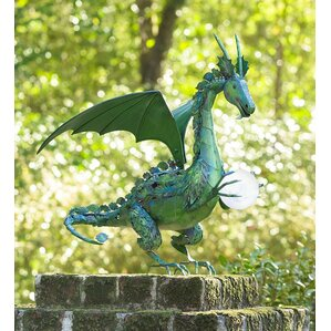 Dragon Garden Statue With Solar Pearl