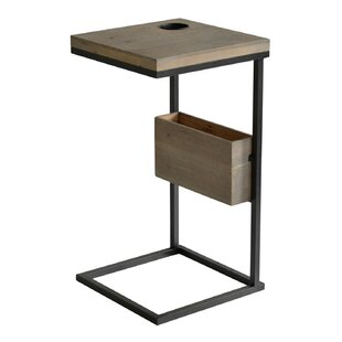 Manatuto Contemporary Metal and Wood End Table by Williston Forge