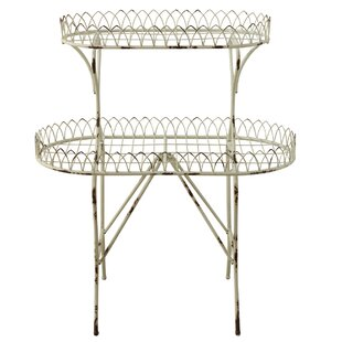 Alijah Distressed 2-Tier Wire Etagere Bookcase