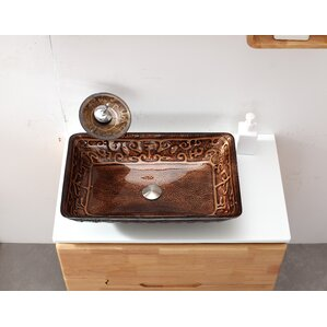 Glass Rectangular Vessel Bathroom Sink