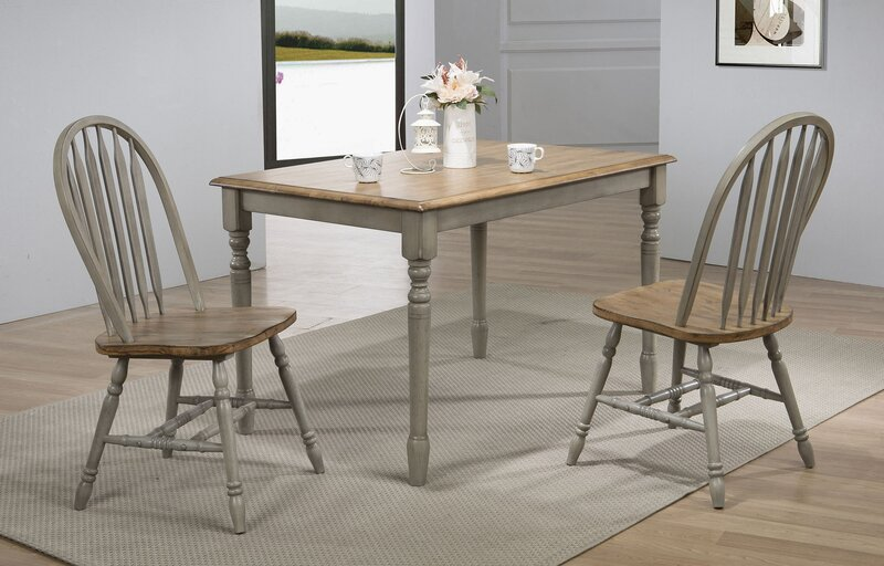 Three Posts Dannie Rubberwood Solid Wood Dining Table Reviews Wayfair
