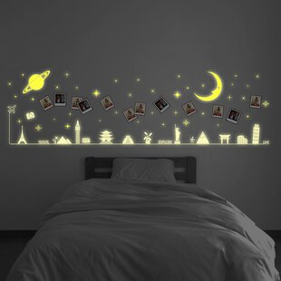 Glowing Moon And Stars Travel Around The World Glow In Dark Wall Sticker