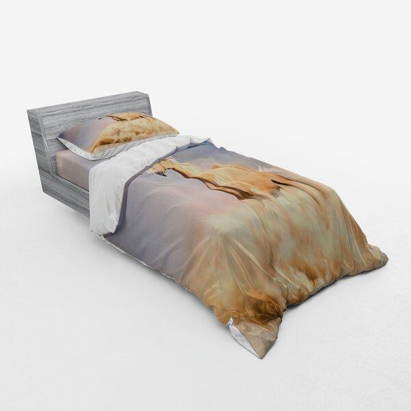 East Urban Home Palomino Horse In Sand Desert With Long Blond Male Hair Power Wild Animal Duvet Cover Set Wayfair