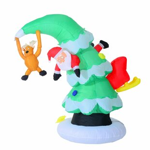 7 inflatable led lit santa claus stuck in christmas tree lawn yard decoration