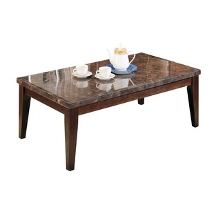 Matteson Marble Top Wood Coffee Table