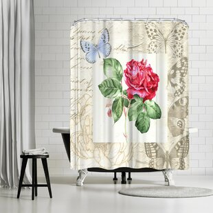 Bargain Elizabeth Hellman Red Rose with Butterflies Shower Curtain By East Urban Home