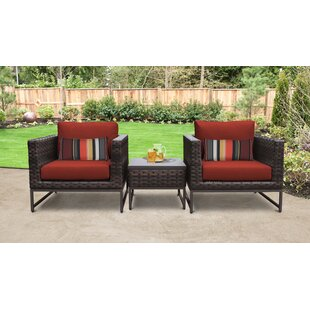 Barcelona Outdoor 3 Piece Conversation Set with Cushions